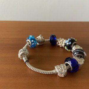 925 Sterling Silver & Glass Charm Pandora Bracelet